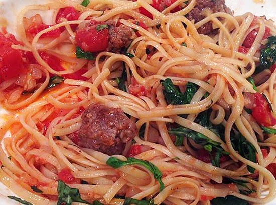 Kangkong Pasta With Meatballs Recipe